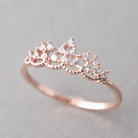 PRINCESS TIARA RING ROSE GOLD ENGAGEMENT TIARA RING COSTUME JEWELRY from Kellinsilver.com