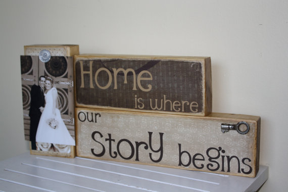 Home is where our Story Begins saying on by FayesAttic11 on Etsy