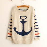 Pullover Navy Anchor Stripe Mohair Sweater