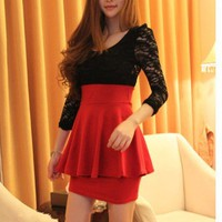 Black Lace Long Sleeve Red Clubbing Cocktail Party Mini Lady Dress Hot Sexy