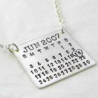 Mark Your Calendar Necklace hand stamped by PunkyJane on Etsy