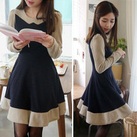 Graceful Womens Long Sleeve Knee-length Dress Color Block Pleat Expansion