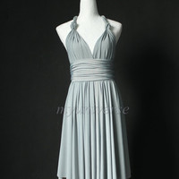 Grey Infinity Dress Bridesmaid Dress Knee Length Wrap Convertible Dress Evening Cocktail Dress