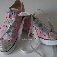 Light Pink Converse Shoes Featuring Swarovski Crystals COO31