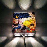 Batman And Robin Superhero  Repurposed Vintage Dictionary Print Light Box Night Lights