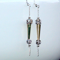 Dangle Earrings Silver Crystal ball Chain Dangle by Daniblu