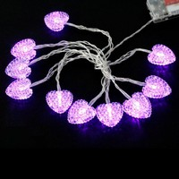 1.5m Love-heart Shaped Battery LEDs Light Holiday Decoration Purple