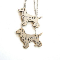 best bitches dog bff necklace set  best friends by friendlygesture