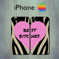 Best Bitches Gold Glitter Zebra Print iPhone case - iPhone 4 case or iPhone 5 case - iPhone Case, Two Case Set (Not Actual Glitter)
