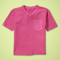 Garment dyed V-neck T