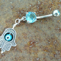 Aqua Evil Eye Belly Button Ring Hand of Fatima by MidnightsMojo