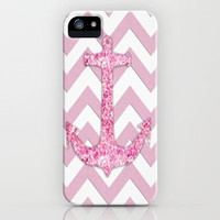 Pink Glitter Anchor Chevron Pattern iPhone Case by productoslocos | Society6