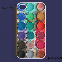 watercolor paintbox paint box iPhone 4 case iPhone 4s case iPhone cases iPhone 4 cover personalized hard plastic iPhone case