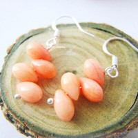 Cascading Peach Coral Teardrop Shape Stone Silver Earrings
