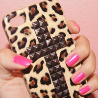 iPhone 4/4S case cute stud studs cheetah cross by pinkcupcakee