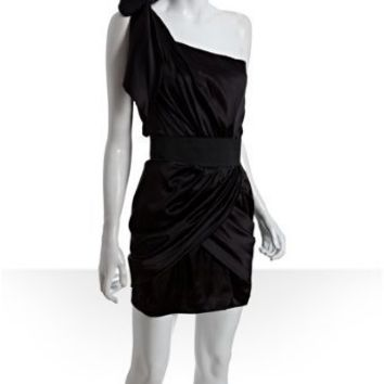 Foley black silk banded waist one shoulder dress | BLUEFLY up to 70% off designer brands