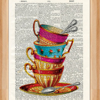Tea cups  - vintage book page print image on a page from an Upcycled Early 1900s Dictionary Buy 3 get 1 Free. Teacups