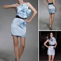 Satin Sheath/ Column Halter Sleeveless Short/ Mini Cocktail Dress inspired by Blair in Gossip Girl co1112 - Celebrity Dresses - Apparel