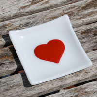 Red Heart Jewelry Holder - Fused Glass Trinket Dish - Spoon Rest - Love Valentine's Day