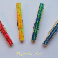 Rainbow Glitter Clothes Pins Glammed Up by WhispySnowAngel on Etsy