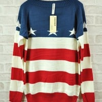 Retro Star Flag Red White Blue Striped Sweater