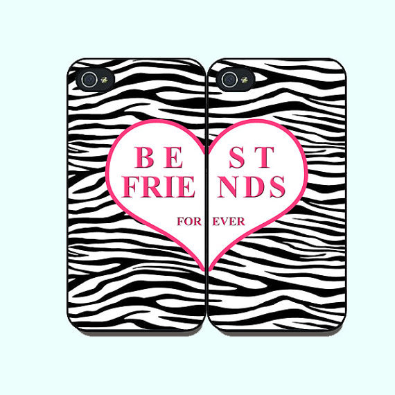 Best Friends -- iphone 5 Case or iPhone 4  case  in pairs, with durable black or white plasic and silicone