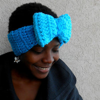 Womens Blue Bow Headband Earwarmer- Oversized Bow- Warm Winter Wear- Women's Fashion Hat- Handmade