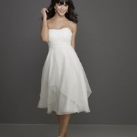 Special Design Chiffon Strapless Rouched Bodice with Short A line Skirt Bridesmaid Dress