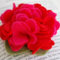 Bright Pink and Red Bloom Felt Clip or Headband by PosiesandPetals