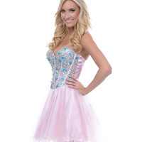 Light Pink Tulle & Blue Floral Sequin Short Prom Dress - Unique Vintage - Cocktail, Pinup, Holiday & Prom Dresses.