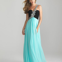 Water &amp; Black Chiffon Rhinestone One Shoulder Prom Dress - Unique Vintage - Cocktail, Pinup, Holiday &amp; Prom Dresses.