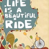 "Inspirational Art Print ""Life is a Beautiful Ride"" Digital Print Wall Decor, Motivational Saying, Illustration Vintage Bicycle Artwork"