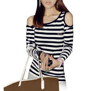 Allegra K Woman Asymmetric Neckline Long Sleeve Striped Fitted Top T Shirts