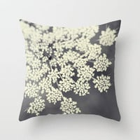 Black and White Queen Annes Lace Throw Pillow by Erin Johnson | Society6