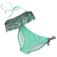 Mudd Geometric Fringe 2-pc. Halter Bikini Set - Girls 7-16