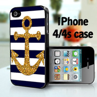 Soft navy and white stripes with gold anchor -   - iPhone 4S and iPhone 4 Case Cover