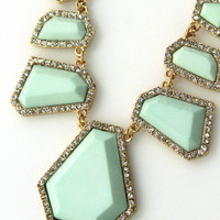 Love Triangle Necklace In Mint Green - Bliss Salon and Boutique