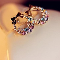 Circular Rhinestone Bow Earrings on Luulla