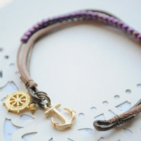Anchor Bracelet No. 54- Purple czech glass beads, gold anchor clasp, brown leather cord