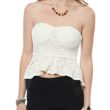 Papaya Clothing Online :: PLEATED LACY PEPLUM TOP