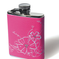 Hot Pink Flask with Embroidered Flowers and Rhinestones