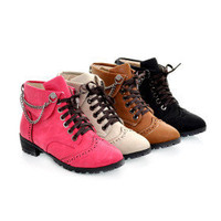 PU Leather Upper Low Heel Closed-toes With Lace-up Fashion Shoes - &amp;#36;50.05