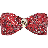 Red bandana print skull bandeau bikini top