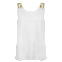 White Vest Top with Gold Studded Shoulder Detail Buy Online