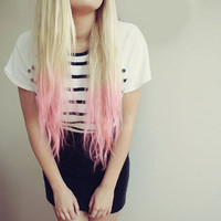 PASTEL Pink DIP DYE Tips // (6) Pieces // Human Hair // Clip In Extensions