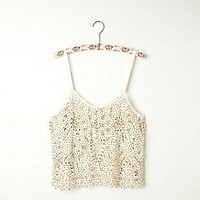 Free People Clothing Boutique &gt; Beaded and Studded Battenburg Crop Cami