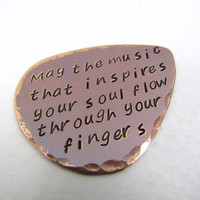 Personalized Copper Guitar Pick, music lover, valentines day, friendship, fathers day, inspired, names, initials, dates