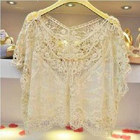 Sheer Lace Top Flowy Sack Sexy Women Blouse Vest T shirt Transparent Cropped Top