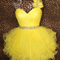 Yellow Cocktail Short Ruffled Prom Pageant Evening Gown Party Dress XS 2/4