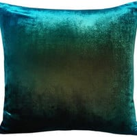 kevin o'brien ombre velvet pillow - peacock - ABC Carpet & Home